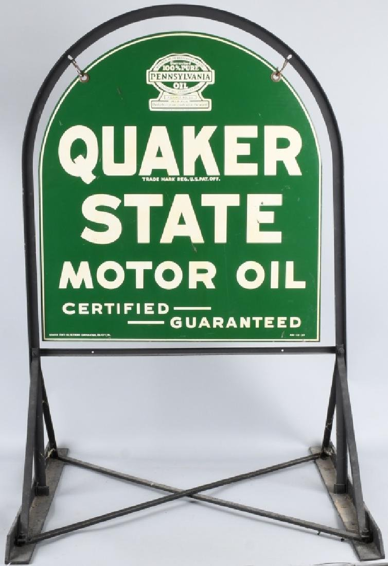 QUAKER STATE DS TOMBSTONE PORCELAIN SIGN w/ STAND