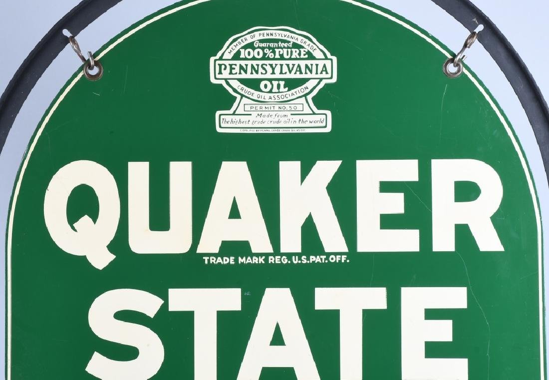QUAKER STATE DS TOMBSTONE PORCELAIN SIGN w/ STAND - 2