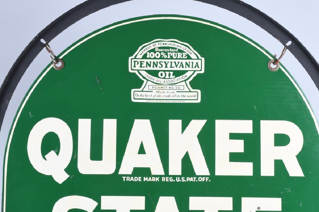 QUAKER STATE DS TOMBSTONE PORCELAIN SIGN w/ STAND - 4