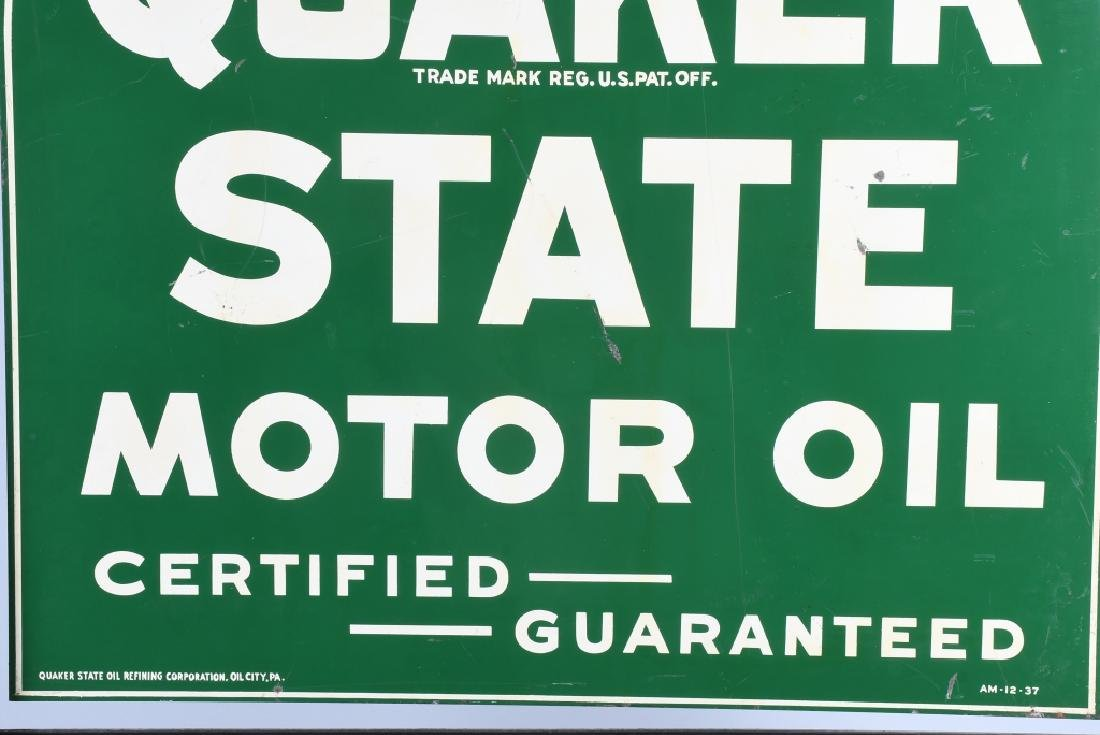 QUAKER STATE DS TOMBSTONE PORCELAIN SIGN w/ STAND - 5