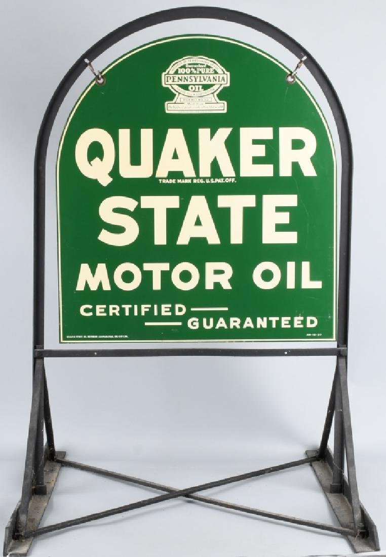 QUAKER STATE DS TOMBSTONE PORCELAIN SIGN w/ STAND - 6