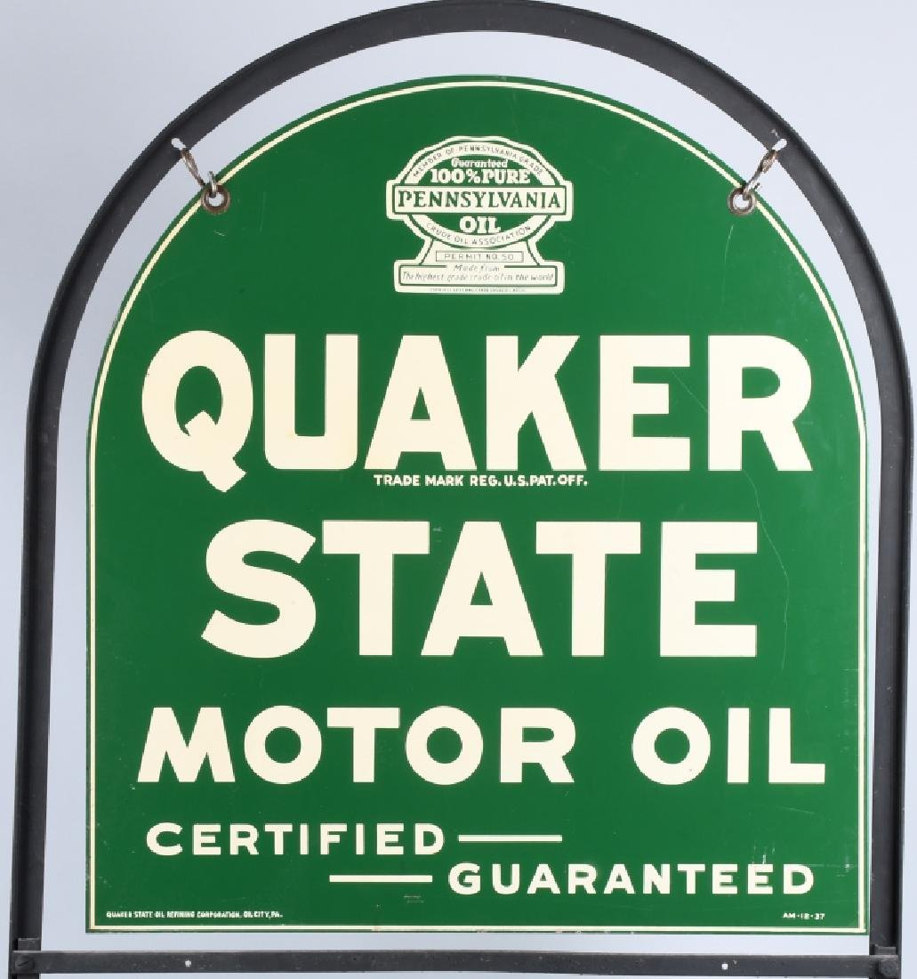QUAKER STATE DS TOMBSTONE PORCELAIN SIGN w/ STAND - 7
