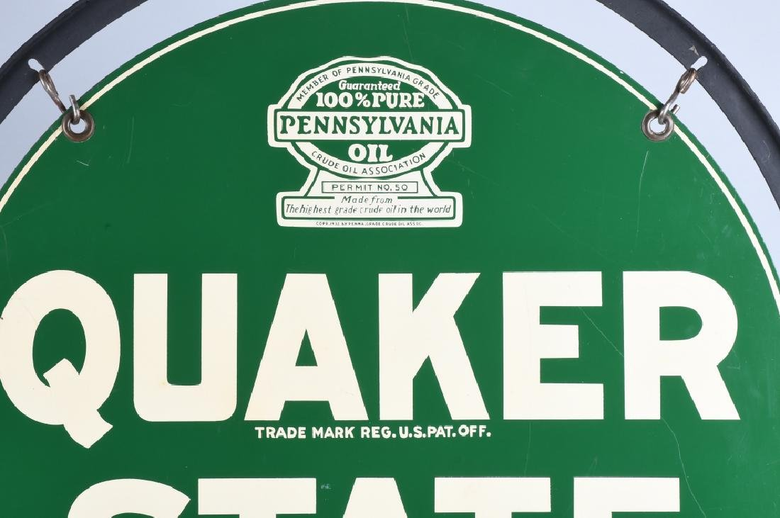 QUAKER STATE DS TOMBSTONE PORCELAIN SIGN w/ STAND - 8