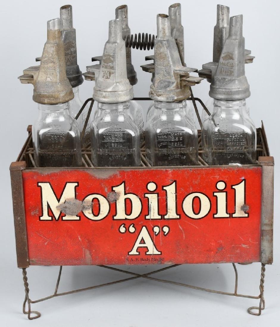 MOBILOIL A BOTTLES w/ CARRIER RACK