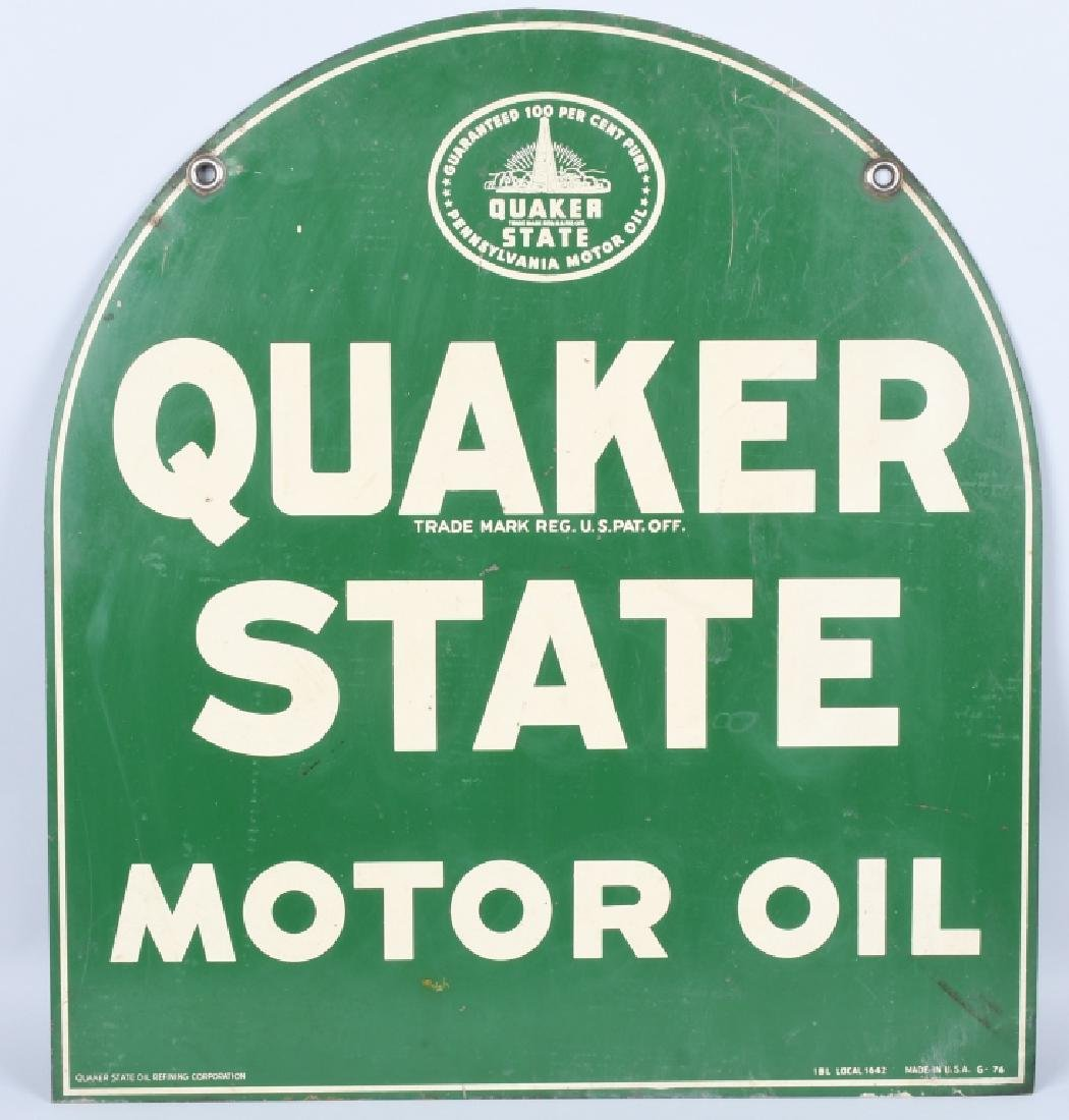QUAKER STATE MOTOR OIL DS TOMBSTONE SIGN