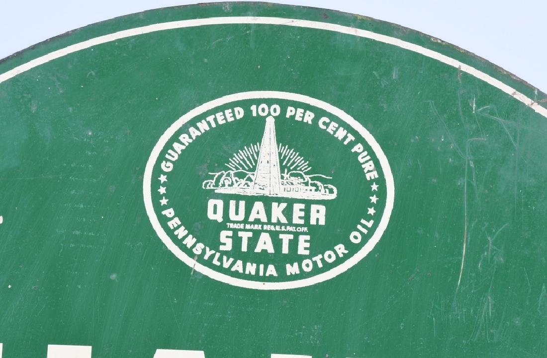 QUAKER STATE MOTOR OIL DS TOMBSTONE SIGN - 2
