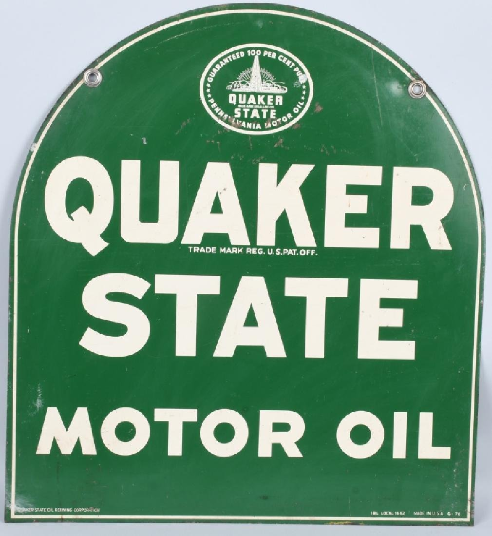 QUAKER STATE MOTOR OIL DS TOMBSTONE SIGN - 5