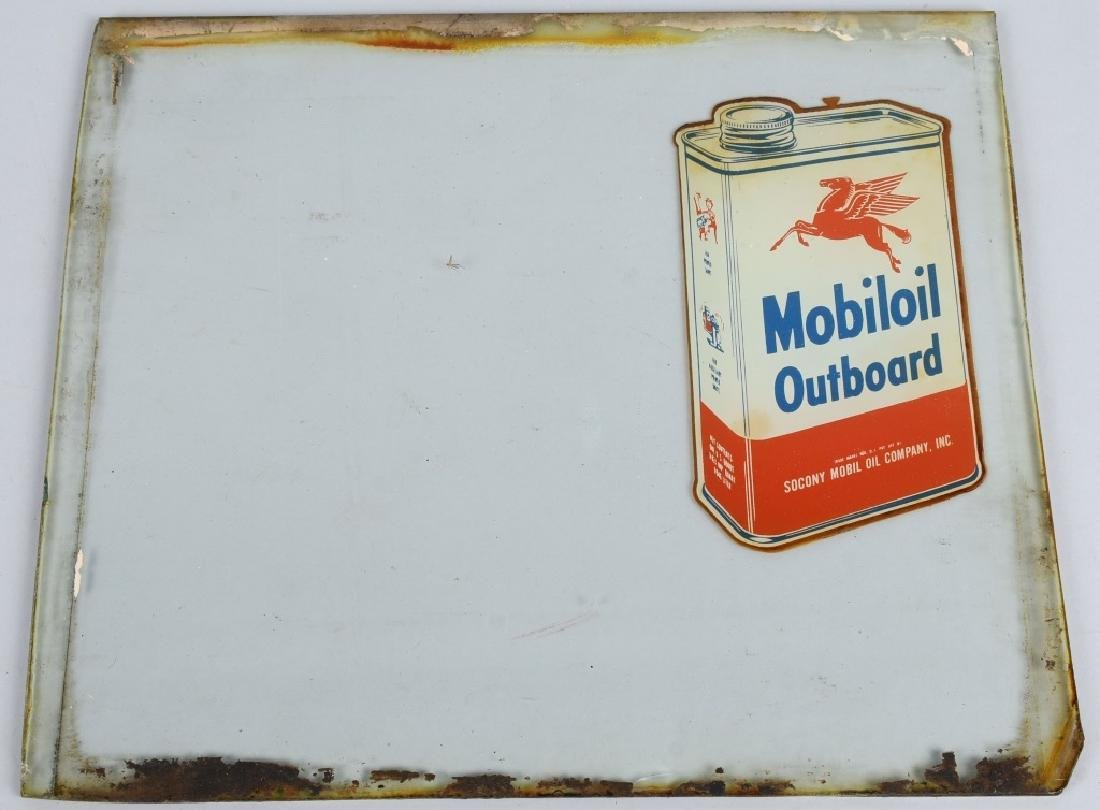 MOBILOIL OUTBOARD OIL GLASS PUMP SIGN