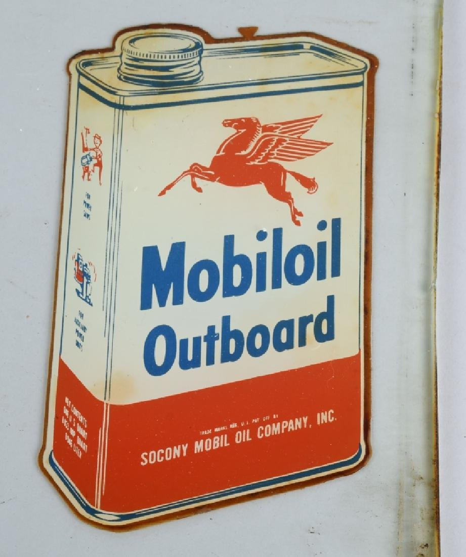 MOBILOIL OUTBOARD OIL GLASS PUMP SIGN - 2