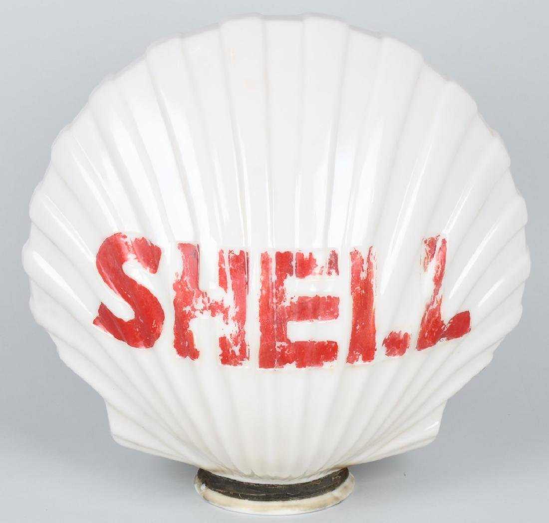 SHELL CLAM SHELL MILK GLASS GAS GLOBE