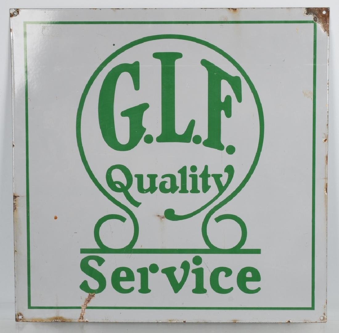 G.L.F. QUALITY SERVICE PORCELAIN SIGN
