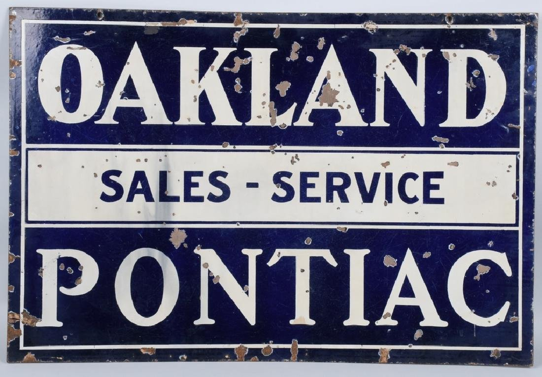 OAKLAND PONTIAC SALES-SERVICE DS PORCELAIN SIGN
