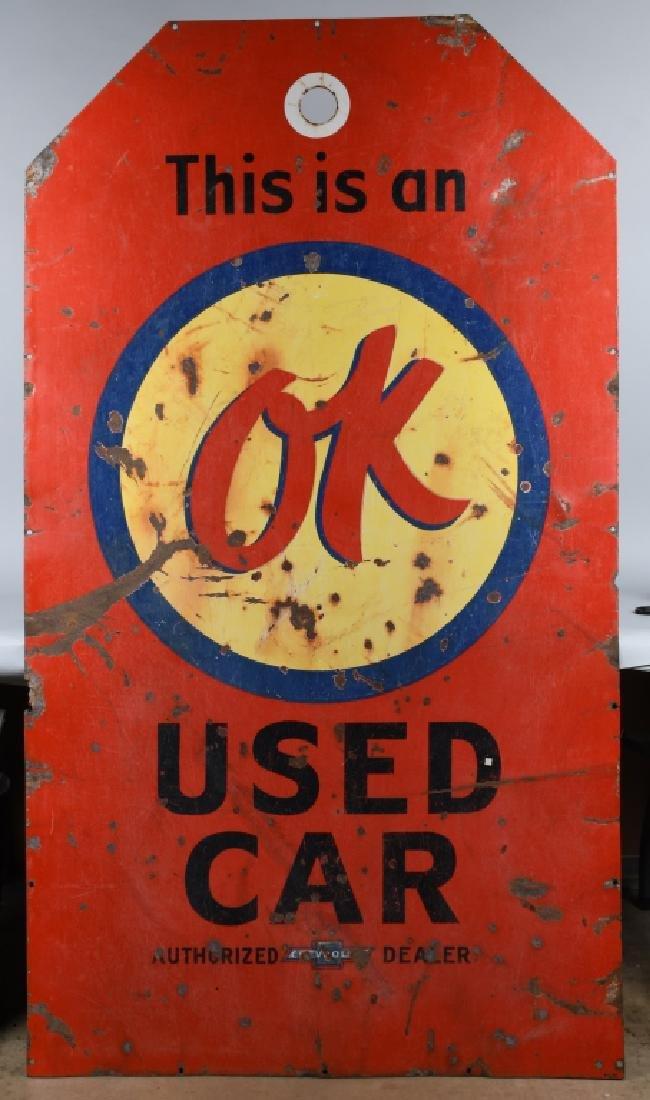 CHEVROLET OK USED CARS PORCELAIN TAG SIGN