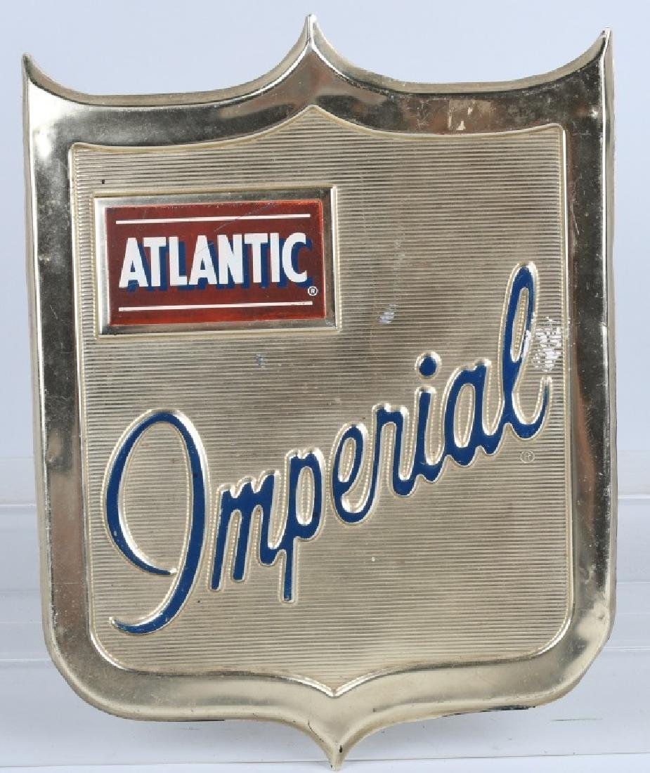 ATLANTIC IMPERIAL TIN DIECUT EMBOSSED SIGN