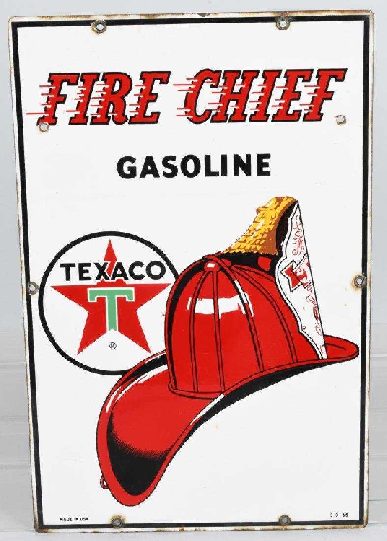 TEXACO FIRE CHIEF GASOLINE PORCELAIN SIGN
