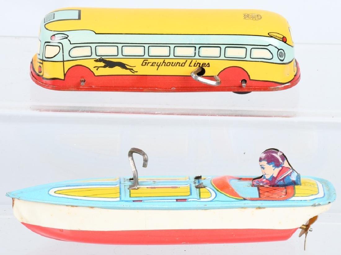 CHEIN Tin Windup GREYHOUND BUS & SPEED BOAT