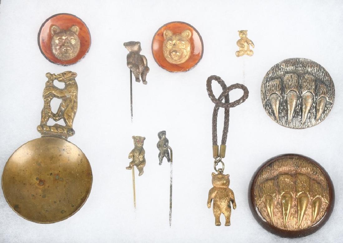 10 1900-10 TEDDY BEAR STICK PINS, BUTTONS, & MORE
