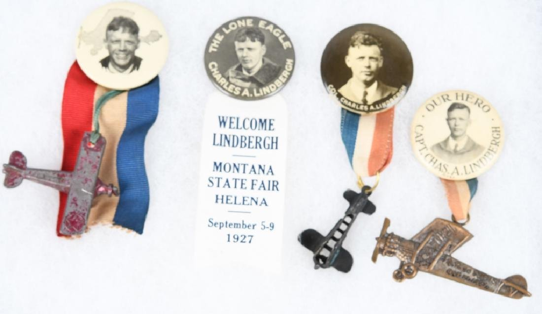 4- C. LINDBERGH PHOTE BUTTONS RIBBONS w/ AIRPLANES