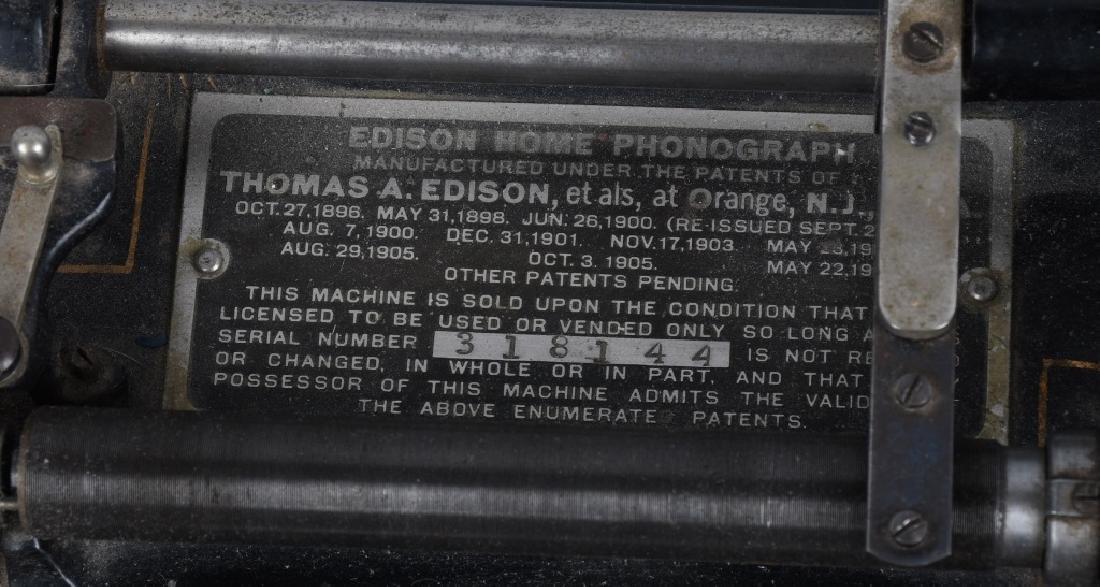 EDISON HOME CYLINDER PHONOGRAPH & HORN - 3