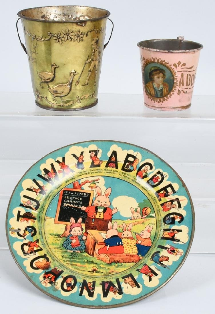 EARLY ABC PLATE, SANDPAIL, & MORE