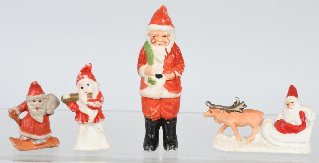 4- CHRISTMAS SANTA CLAUS BISQUE FIGURES