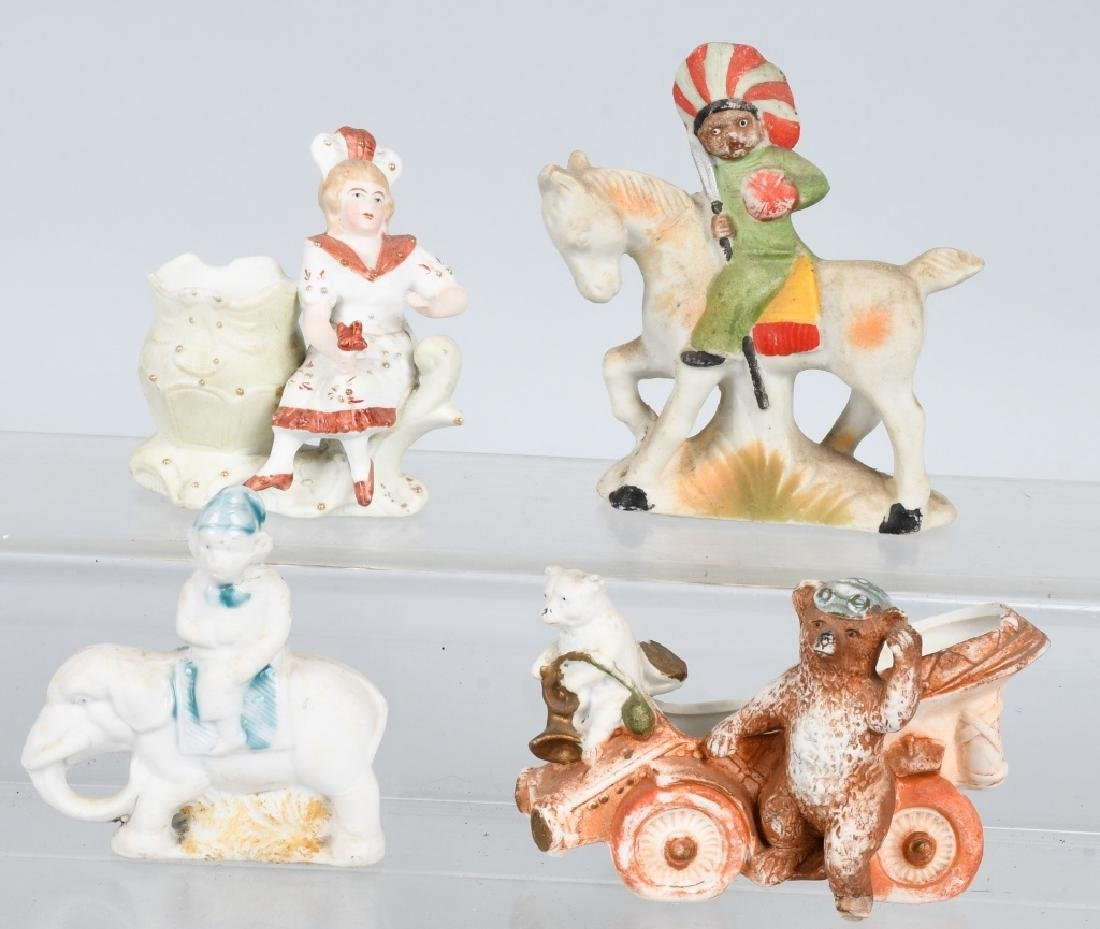 4- LARGE BISQUE FIGURES INDIAN, BEARS, & MORE