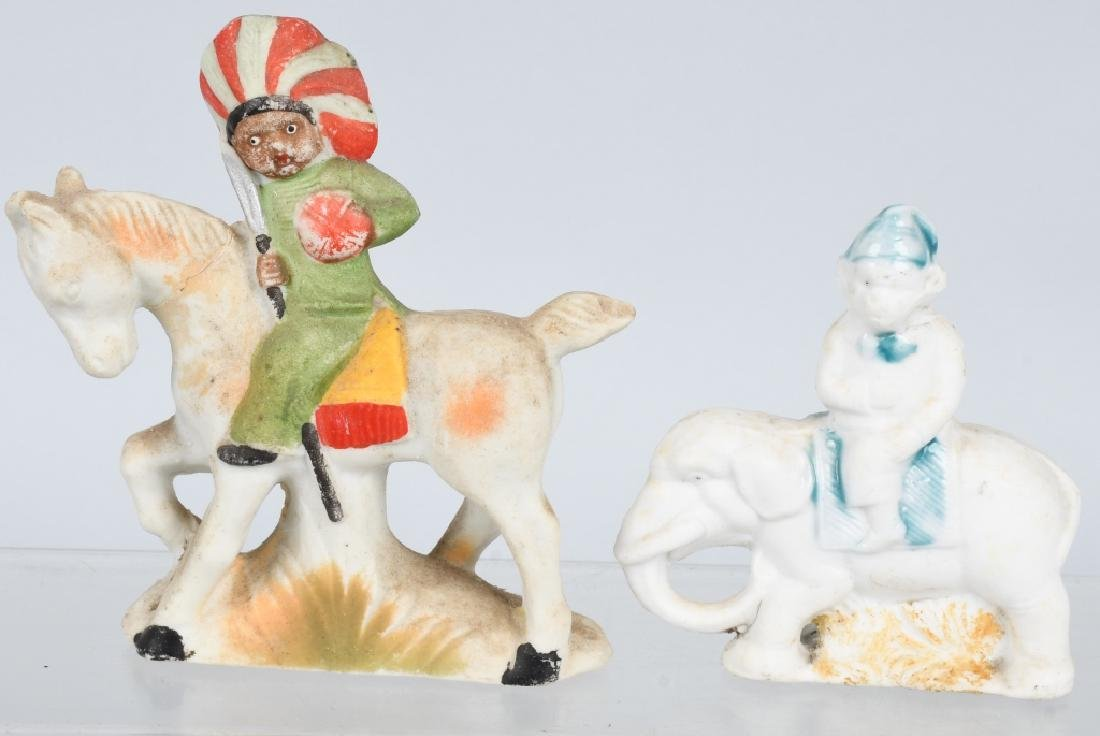 4- LARGE BISQUE FIGURES INDIAN, BEARS, & MORE - 4