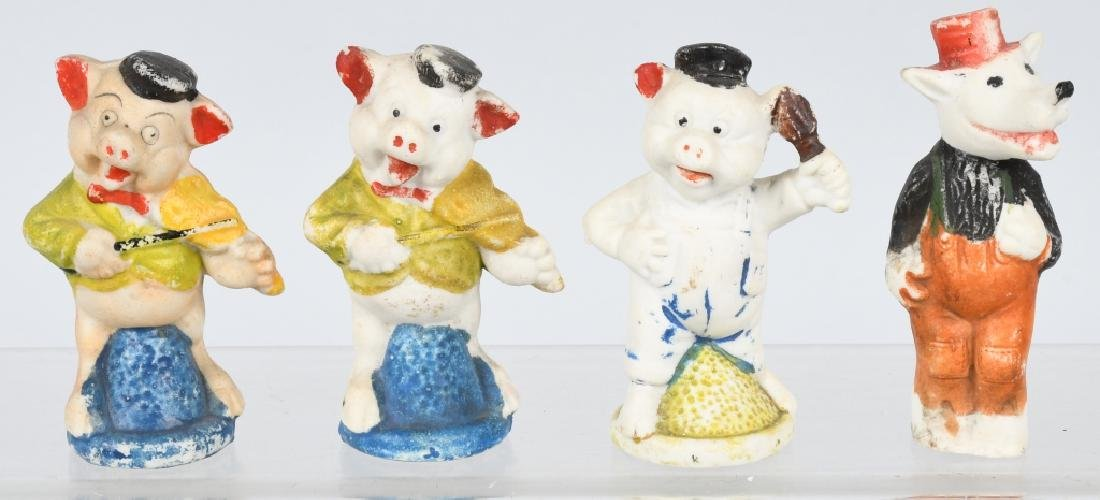 3 LITTLE PIGS & WOLF BISQUE FIGURES