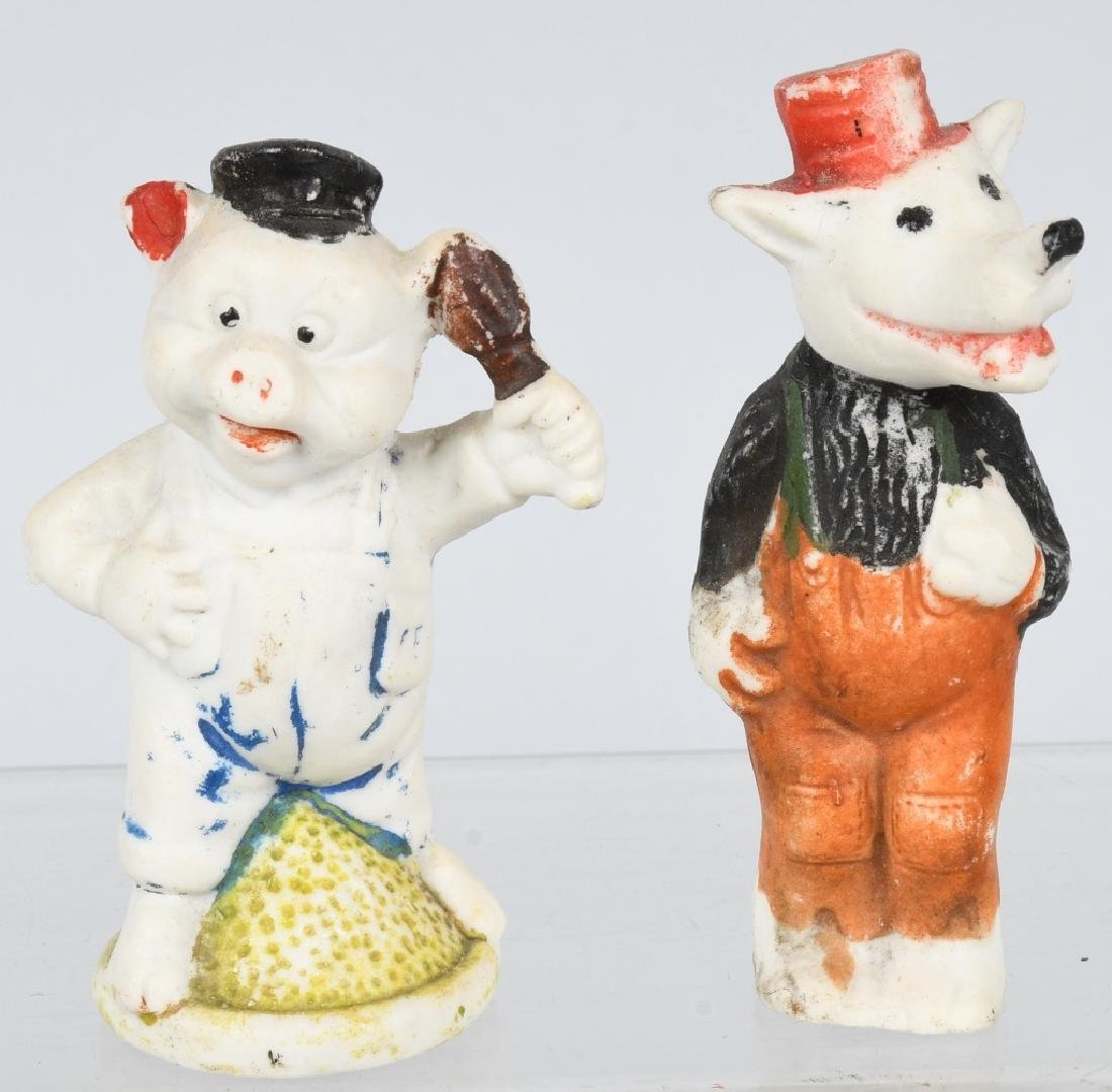 3 LITTLE PIGS & WOLF BISQUE FIGURES - 2