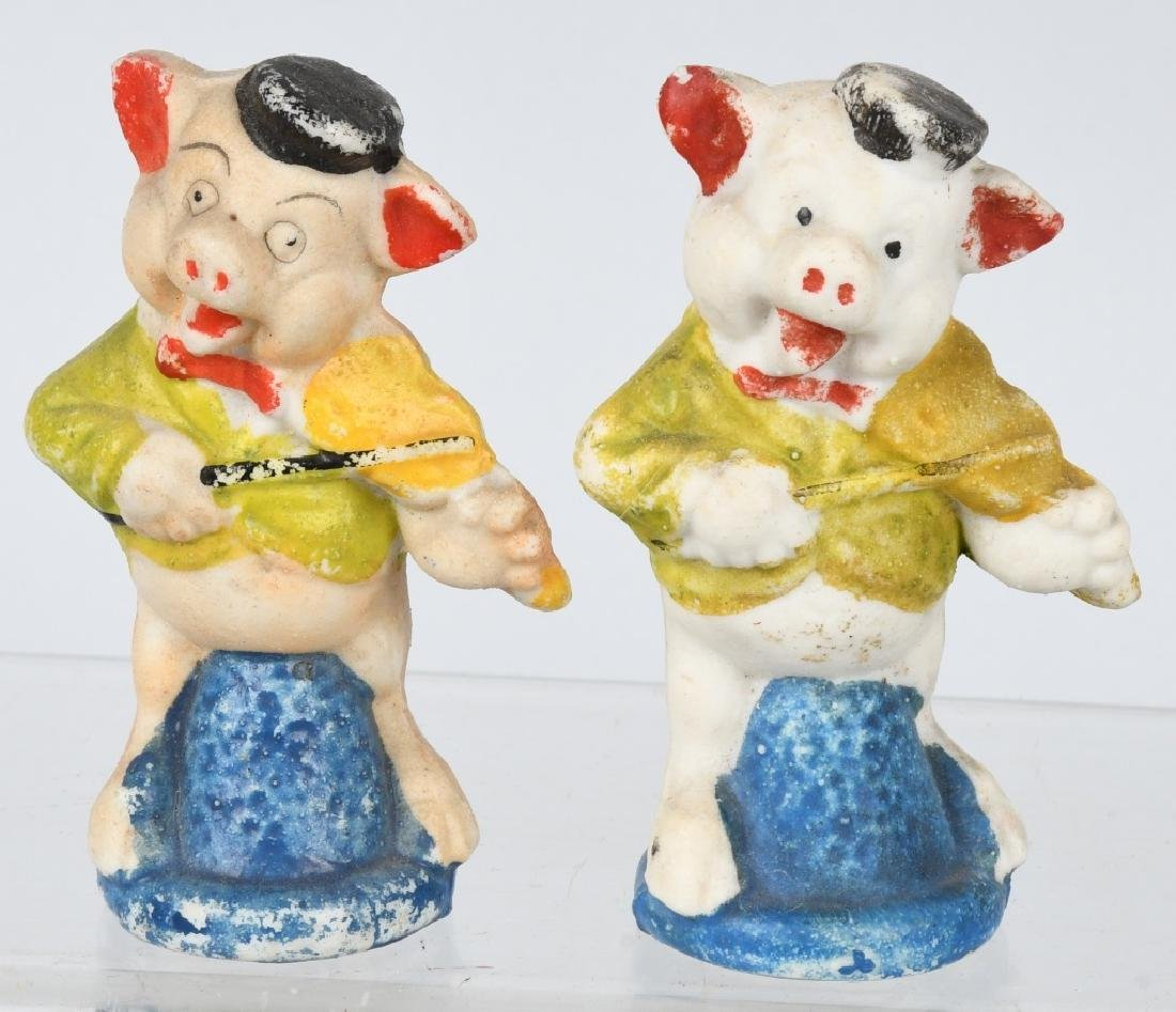 3 LITTLE PIGS & WOLF BISQUE FIGURES - 3
