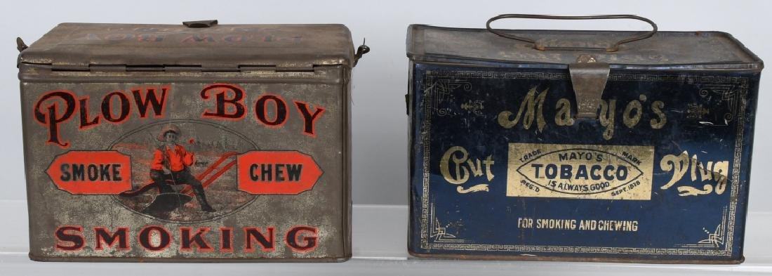 PLOW BOY & MAYO TOBACCO LUNCH BOX TINS