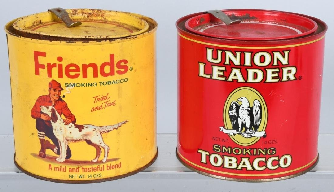 FRIENDS & UNION LEADER TOBACCO TINS