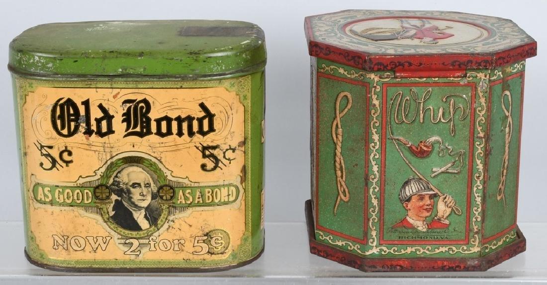 OLD BOND & WHIP TOBACCO TINS