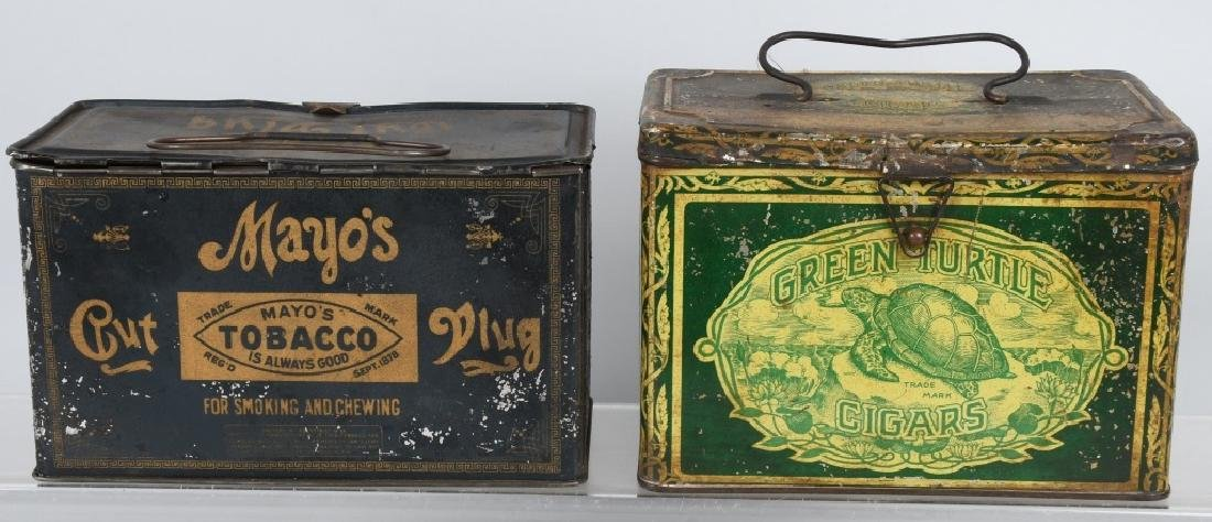 GREEN TIRTLE & MAYO TOBACCO LUNCH BOX TINS