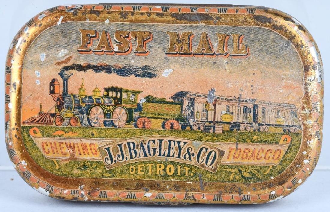 J.J. BAGLEY FAST MAIL TOBACCO TIN, STEAM TRAIN