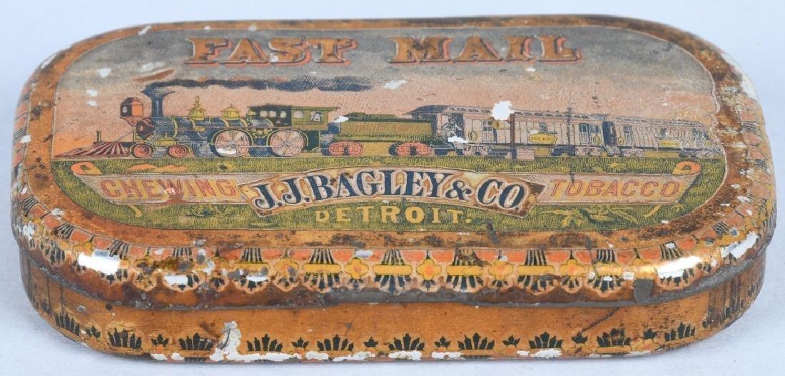 J.J. BAGLEY FAST MAIL TOBACCO TIN, STEAM TRAIN - 2