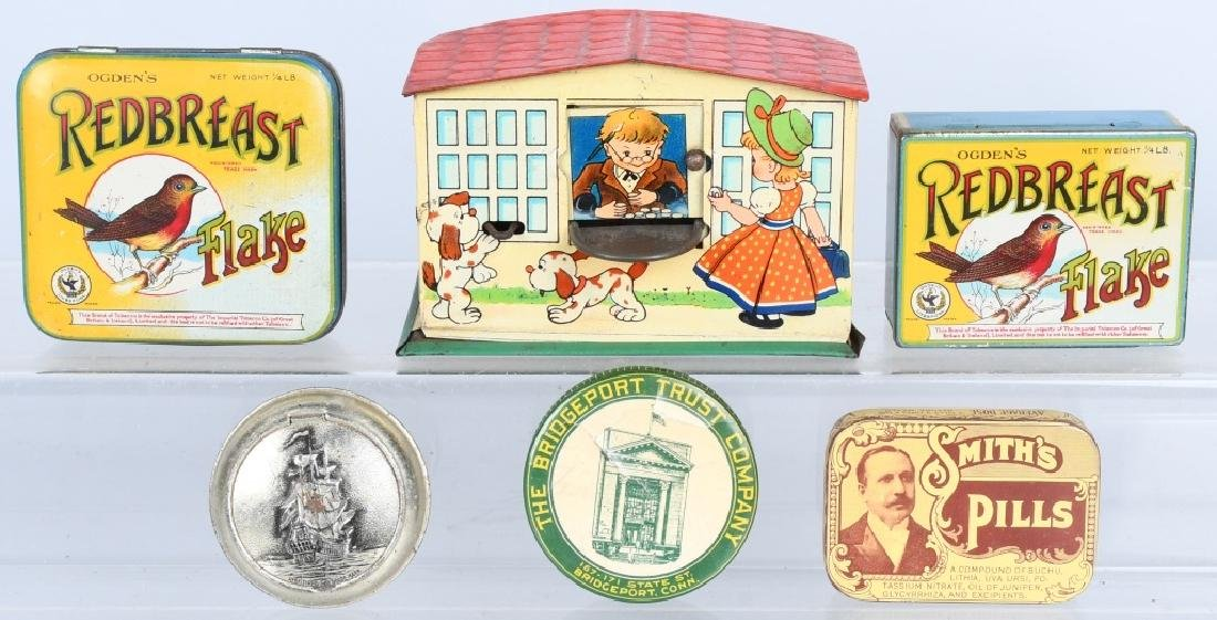 ADVERTISING TIN and TOY BANK LOT
