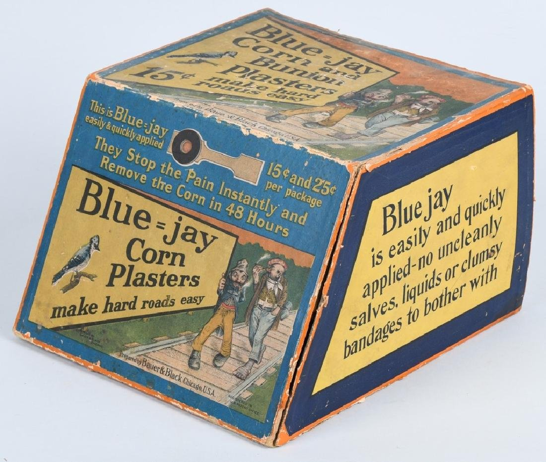 BLUE - JAY CORN PLASTERS CORNER DISPLAY, VINTAGE