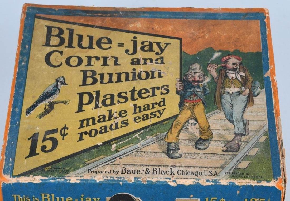BLUE - JAY CORN PLASTERS CORNER DISPLAY, VINTAGE - 3