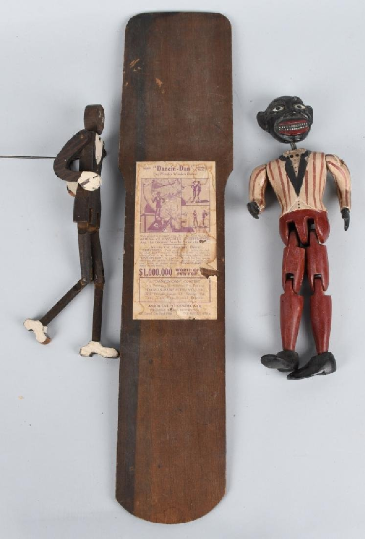 2-BLACK AMERICANA WOOD JOINTED DANCING TOYS