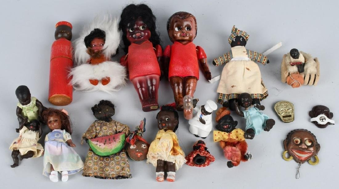 LARGE BLACK AMERICANA TOY & DOLL LOT, VINTAGE