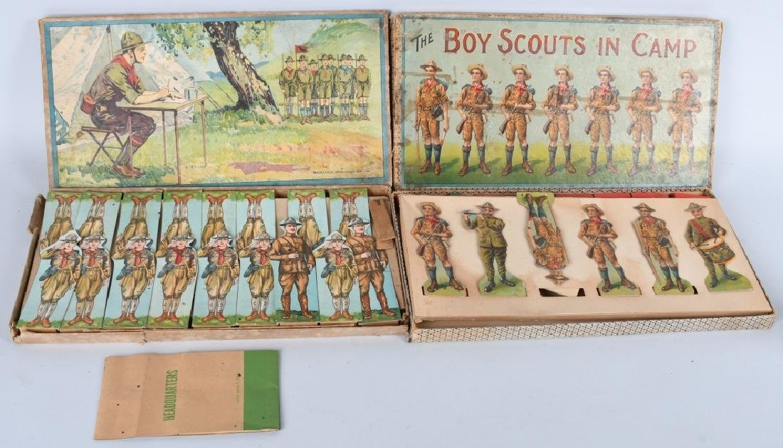 2-EARLY BOY SCOUT GAME FIGURES, BOXED
