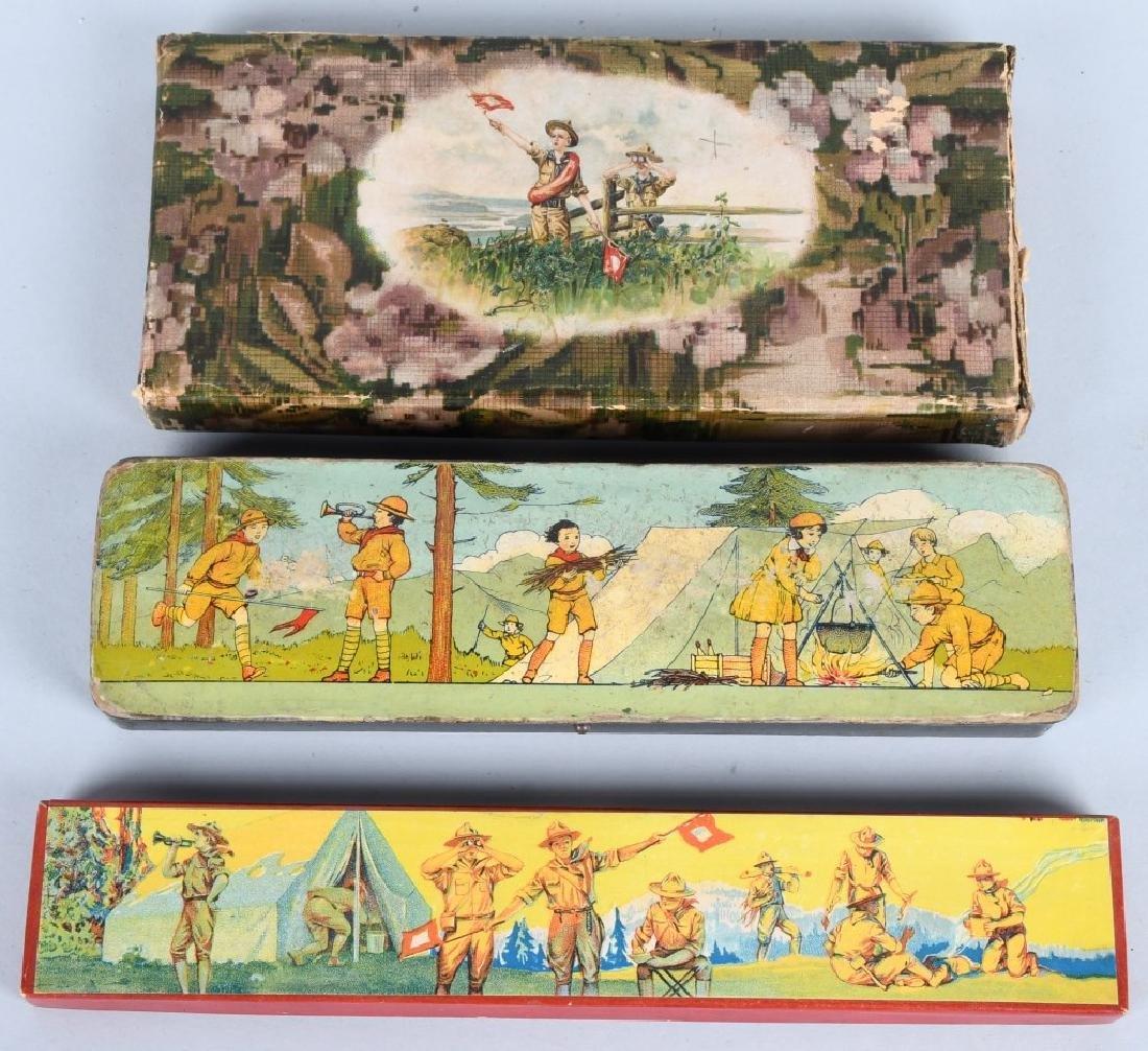 3-EARLY BOY SCOUT PENCIL BOXES
