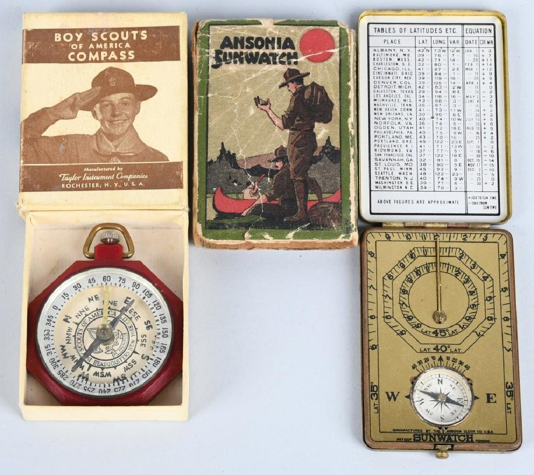 BOY SCOUT COMPASS & ANSONIA SUNWATCH, BOXED