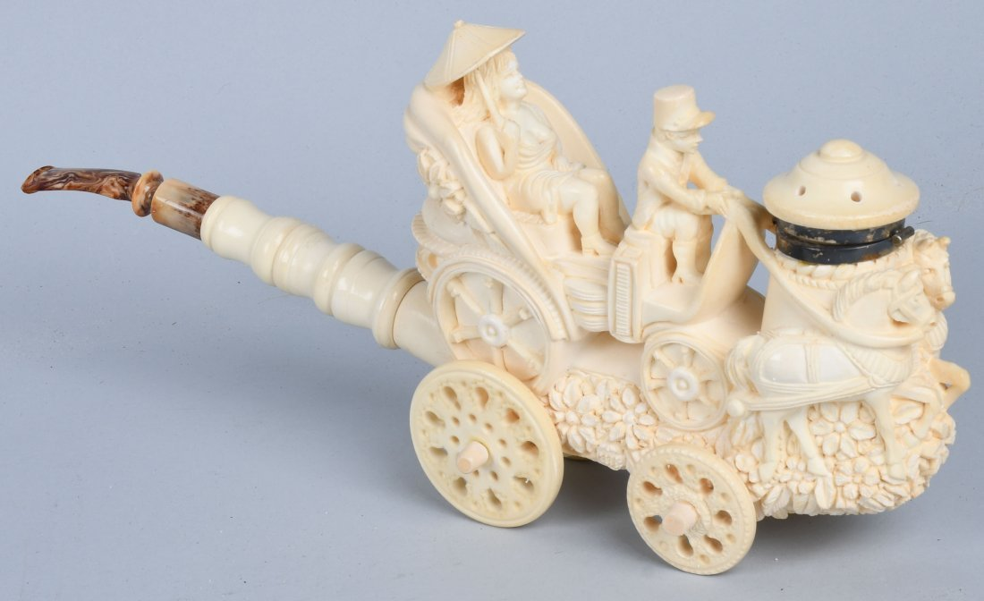 """14\"""" HORSE DRAWN CARRIAGE MEERSCHAUM PIPE ISMAIL"""