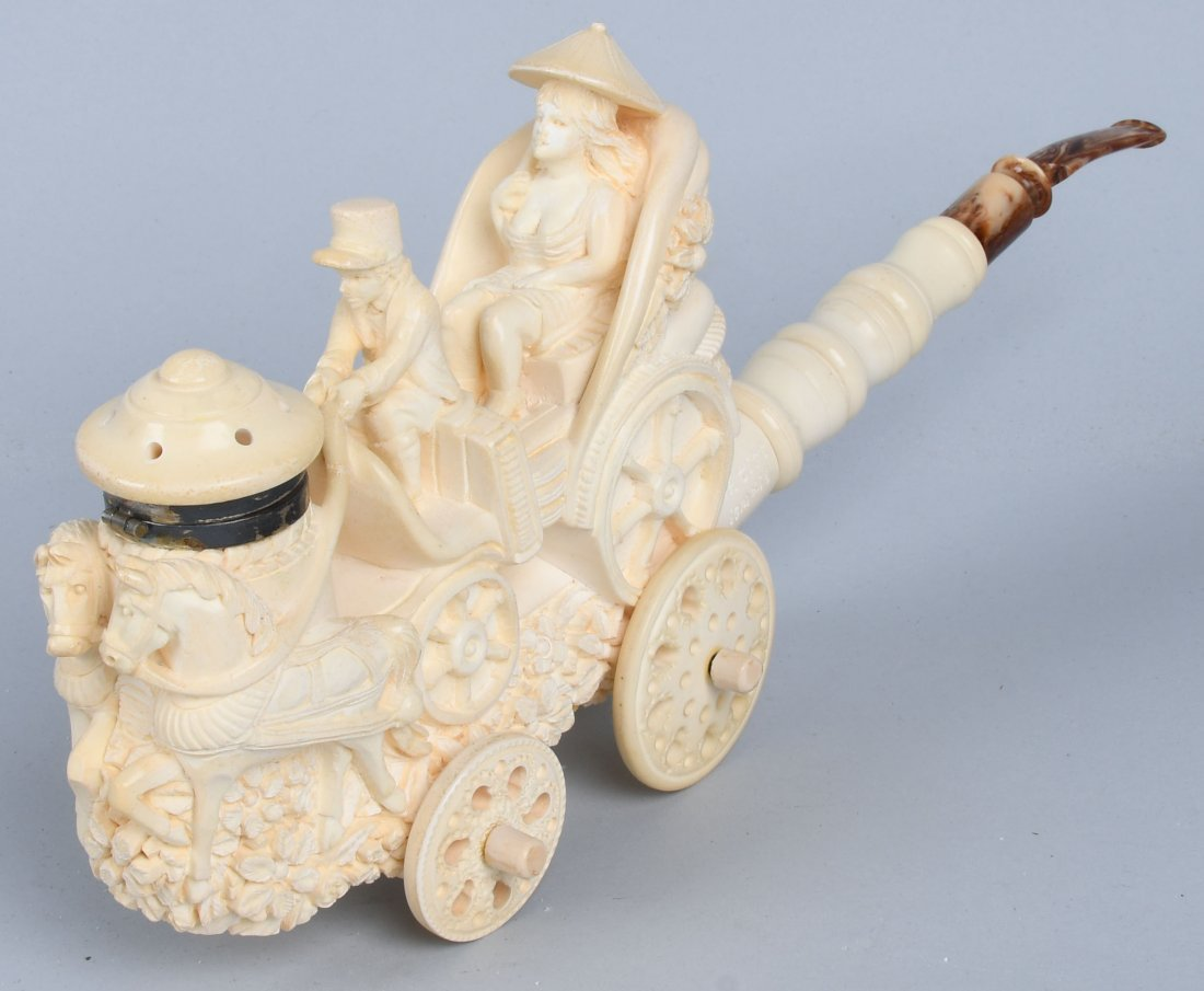 "14"" HORSE DRAWN CARRIAGE MEERSCHAUM PIPE ISMAIL - 4"