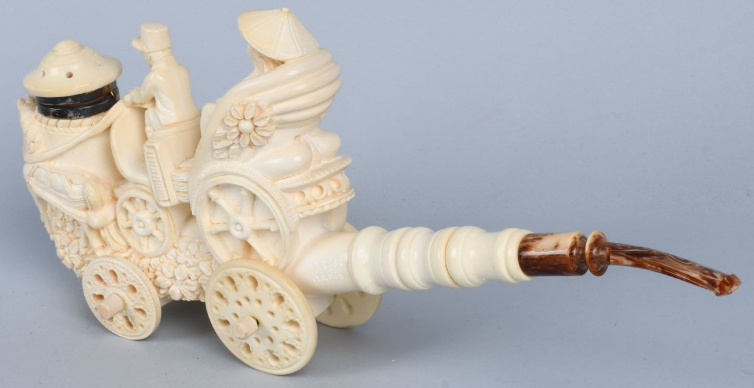 """14\"""" HORSE DRAWN CARRIAGE MEERSCHAUM PIPE ISMAIL - 7"""