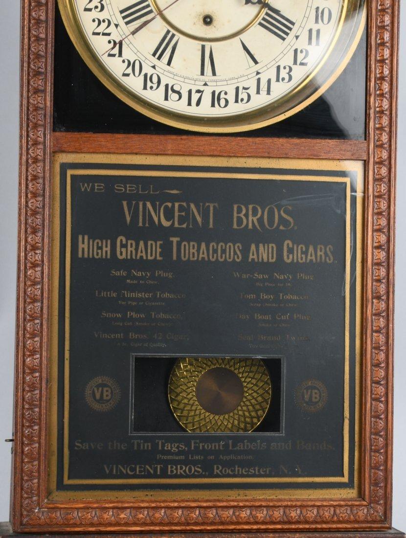 ANTIQUE VINCENT BROS TOBACCO OAK  ADVERTISING CLOCK - 3