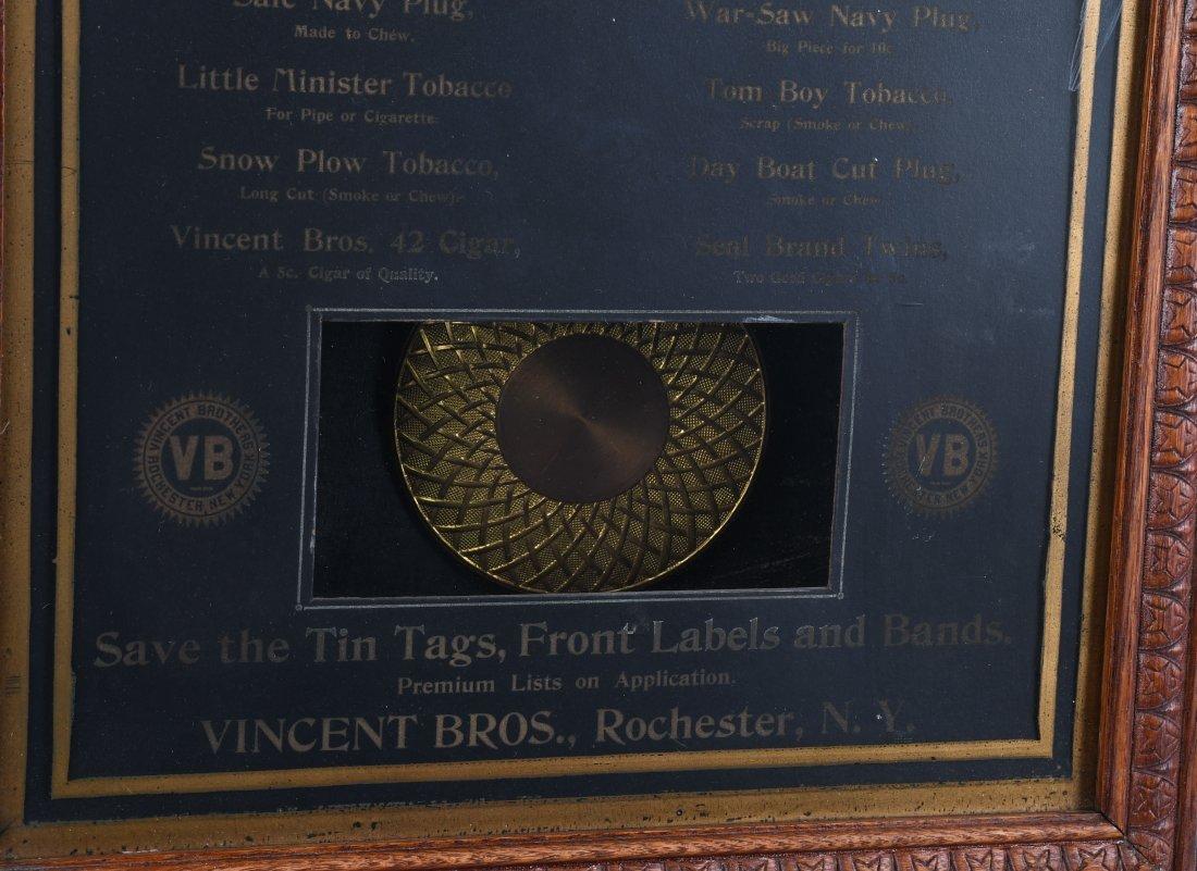 ANTIQUE VINCENT BROS TOBACCO OAK  ADVERTISING CLOCK - 6