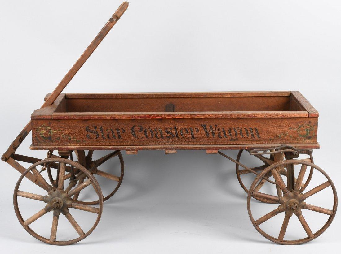 1906 WOOD STAR COASTER WAGON, SPOKED WHEELS